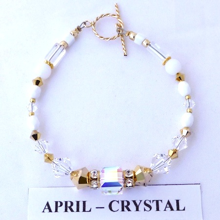 Bracelet with Crystal coloured Swarovski crystals depicting the birth month and colour of APRIL