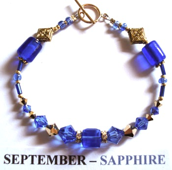 Fashion Bracelet with Sapphire coloured Swarovski Crystals depicting the birth month and colour of SEPTEMBER