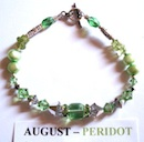 Fashion Bracelet with Peridot coloured Swarovski Crystals, pearls and peridot chips depicting the birth month and colour of AUGUST