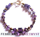 Bracelet with Amethyst coloured Swarovski crystals depicting the birth month and colour of FEBRUARY