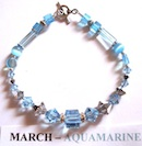 Bracelet with Aquamarine coloured Swarovski crystals depicting the birth month and colour of MARCH