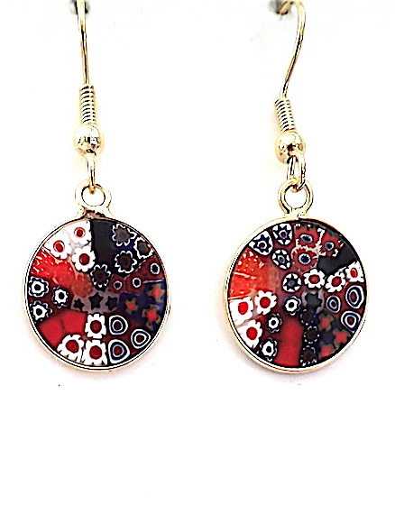 100% Murano Millefiore Glass. These earrings are 14mm in diameter are surrounded by a gold bezel. They are on gold plated nickel free wires hanging approx. 2cm. PRICE -  45.0