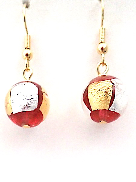 100% Murano Glass 12mm round earrings in sterling silver and 24kt gold leaf around round glass on gold plated nickel free hooks