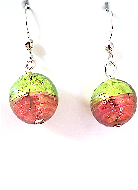 100% Genuine Murano Glass 12mm round earrings in brilliant lime green and salmon over sterling silver foil on sterling silver wires - approx. length 2cm. PRICE -  30.00