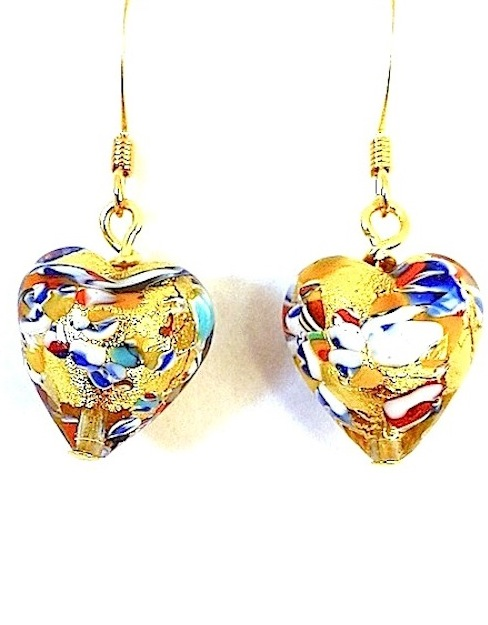 100% Murano Glass 13mm Multi Coloured Hearts with 24kt gold leaf within the bead encased in clear glass with multi coloured speckles on gold plated nickel free wires - approx. length 2cm - $AUD 35.00
