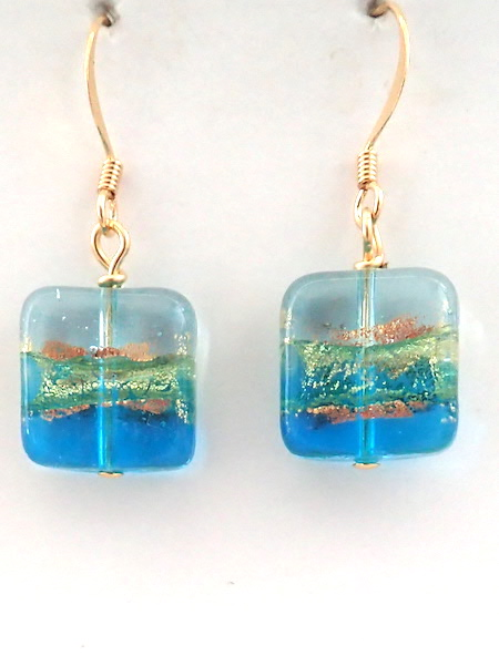 100% Murano Glass 14mm square earrings with a graduation of aqua glass to clear glass with 24kt gold on the outside and inside on gold plated nickel free wires - approx. length 2cm - PRICE  30.00