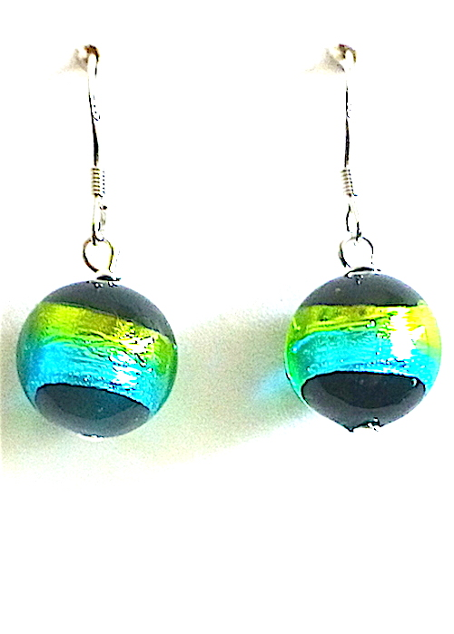 100% Murano Glass 12mm round earrings with a brilliant teal and lime green stripe over a black base. These earrings are on sterling silver wires and hang approx. 2cm