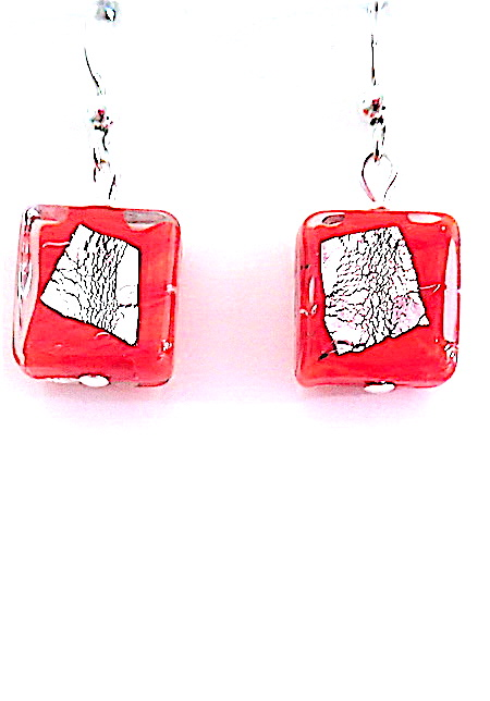100% Genuine Murano Glass 12mm square earrings in a brilliant red with a random piece of sterling silver foil