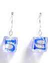 100% Genuine Murano Glass 12mm square shaped earrings with blue squiggles over sterling silver foil encased in clear glass on sterling silver wires