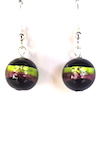 100% Murano Made 12mm round glass earrings with a brilliant strip of lime green and purple over black on sterling silver wires