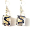 100% Genuine Murano Glass 12mm square earrings with 24kt gold leaf encased by clear glass and an abstract black design on gold plated nickel free wires approx. 2cm in length.