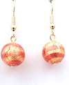 100% Murano Glass 12mm diameter earrings. These elegant earrings have a salmon stripe over a base of 24kt gold leaf enclosed in clear glass. They are on gold plated nickel free wires and hang approx. 2cm. PRICE -  30.00