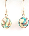 100% Murano Glass 12mm diameter round earrings on a 24kt gold base with waves of aqua and bronze on gold plated nickel free earrings - approx. length 2cm - PRICE  35.00