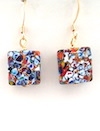 100% Murano Glass 14mm square earrings in the style of Gustav Klimt. These earrings are on a 24kt gold base with multi coloured flecks throughout on gold plated nickel free wires - approx. length 2.5cm - PRICE  40.00