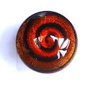 100% Murano glass 25mm diameter round ring in a brilliant firey orange with black swirls over foil on an adjustable gold metal band -  30.00